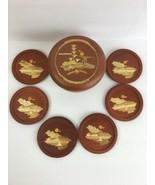 Vintage Wooden Inlay Coaster Set of 6 Box Tiki Columbia Souvenir Beach M... - $29.69
