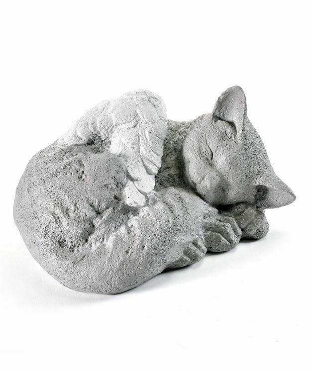 Cat Memorial Statue w White Angel Wings Poly Resin Garden Home Momento Pet