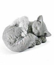 Cat Memorial Statue w White Angel Wings Poly Resin