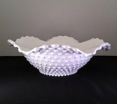 Vintage Duncan Miller White Milk Glass Hobnail Large Wave Edge Console Bowl - $19.95