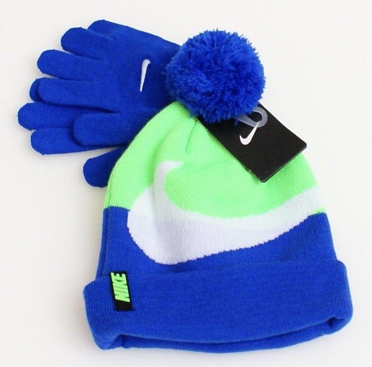 Nike Blue & Green Knit Cuff Pom Pom Beanie & Stretch Gloves Youth Boy's 8-20 NWT