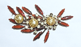 Cathe' Vintage  Prong Set Rhinestone Pearl Brooch Pin   - $30.38