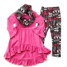 Cute Kids Clothing Toddler Girl Valentine's Day Outfit Infinity Scarf Bo... - $24.99