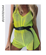 BOOFEENAA Neon Green Mesh Fishnet Beach Shorts Romper Women Trendy Plays... - $23.76
