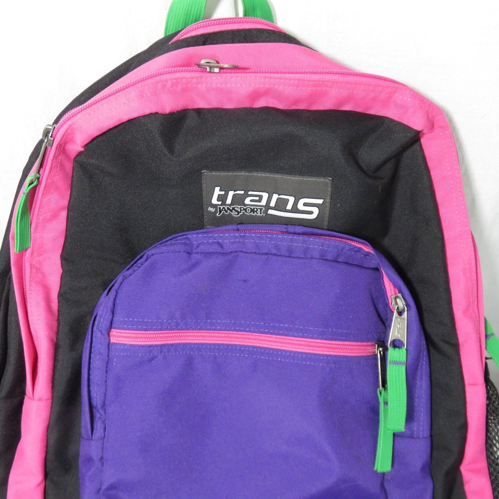 Trans Jansport Bright Multi Colored Backpack Black Neon Pink Purple