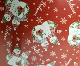 "Peva Tablecloth, 52"" x 52"" SQUARE, CHRISTMAS WINTER SNOWMEN ON RED, BELI... - $14.84"