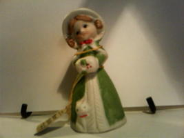 Christmas Merri-Bells Jasco 1978 Bisque Porcelain Girl with Kitten Green... - $12.75