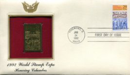 1992 WORLD STAMP EXPO Honoring Columbus First Day Gold Stamp Issue Jan 2... - $4.50