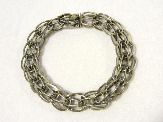 Antique vintage sterling silver bracelet 8.4'' Long