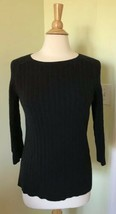 Womens GAP Factory Medium M Black 100% Cotton Spandex Cable Knit Sweater - $9.47