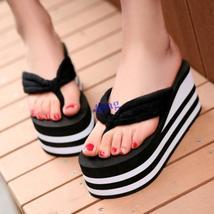 2016-NEW Womens Slippers High Heel Flip Flops Striped Wedge Sandals Comfy Beach