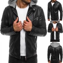 Men's Motorcycle Brando Style Biker Real Leather Hoodie Jacket - Detach Hood -FZ - $69.29+