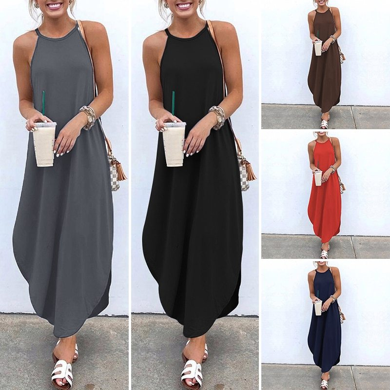 Primary image for Strap Sleeveless Irregular Party Maxi Long women Casual Loose Plus Size Dresses
