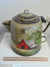 VINTAGE Large COFFEE POT / Water Can COUNTRY FARMS FOLK ART HAND PAINTED... - $168.25