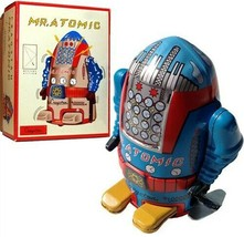 Mr. Atomic Robot Wind up Silver or Blue Schylling Kids Toy FREE SHIPPING - $12.35
