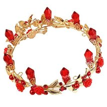 Red Head Decoration Crown with Rhinestone Gold Plated Wedding Supplier image 2