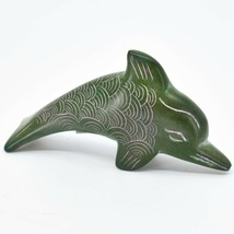 Vaneal Group Hand Carved Kisii Soapstone Green Dolphin Figurine Made in Kenya