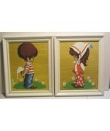 Vintage  Paint By Number  Boy & Girl - Lets share - framed - $61.75