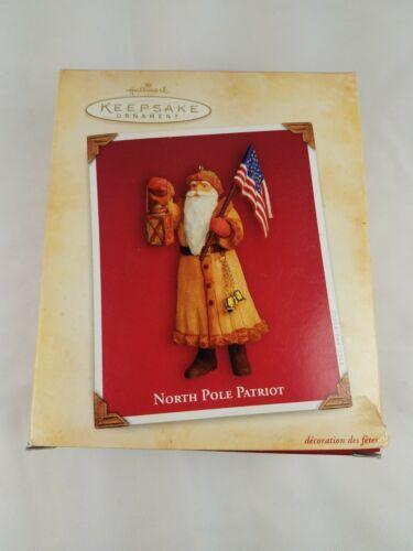 North Pole Patriot Santa Flag USA Lantern Bells Hallmark 2004 Ornament  American image 5