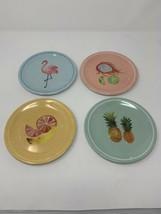Loblaws Set Of 4 Melamine Snack Tea Plates Fruit Flamingo 7 Inches - $24.74