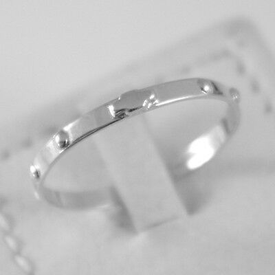 SOLID 18K WHITE GOLD BAND ROSARY RING WITH CROSS LUMINOUS SMOOTH, MADE IN ITALY