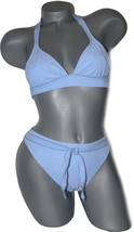 NEW BECCA by Rebecca Virtue baby blue bikini halter XS 0 2 4 2pc swimsuit - $38.79