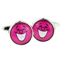 Hot Pink Funny Face Cufflinks cuff link design . gift boxed cufflinks ideal gift
