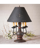 COLONIAL TABLE LAMP Espresso & Salem Red Distressed Finish with Punch Ti... - $372.95