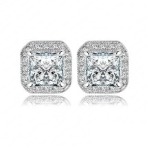 Womens Square Shape Sparking Cubic Zirconia Platinum Gold Plated Stud Ea... - $37.93