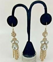 Rhinestone Gold Tone Dangle Earrings Fashion Costume Jewelry - $19.79