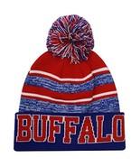 Buffalo Men's Blended Stripe Winter Knit Pom Beanie Hat (Royal/Red) - $13.75