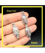 8 pcs Pearl Cage Pendant Shape Rugby Soccer Bright Silver Trendy Fun Gift - $14.80
