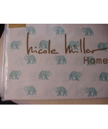 Nicole Miller Aqua Elephants on White Cotton Sheet Set Full - $63.00