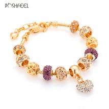 Poshfeel Luxury Crystal Heart Charm Bracelets & Bangles Gold Color Brace... - $15.16