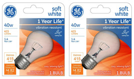 Lot 2 GE 99420 A15 Incandescent A-Line Ceiling Fan Bulb Crystal Clear 355 Lumens image 1