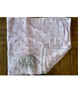 HTF Baby Starters Pink Grey Elephant Plush Baby Girl Security Blanket Po... - $23.76