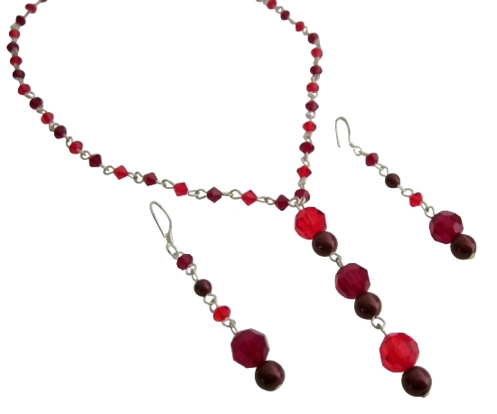 Christmas Gift Wedding Crystals Siam Red & Garnet Handcrafted Jewelry Fashion Jewelry For Everyone Collections
