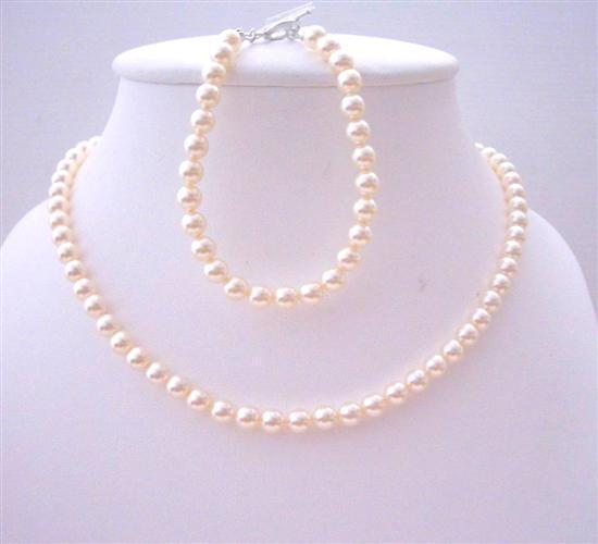Swarovski Ivory 6mm Pearls Flower Girl Jewelry Necklace & Bracelet