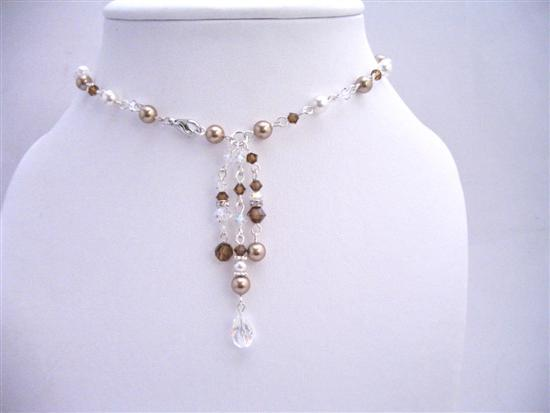 Back Drop Necklace Handmade Bridal Bridesmaid Pearls Crystals Jewelry
