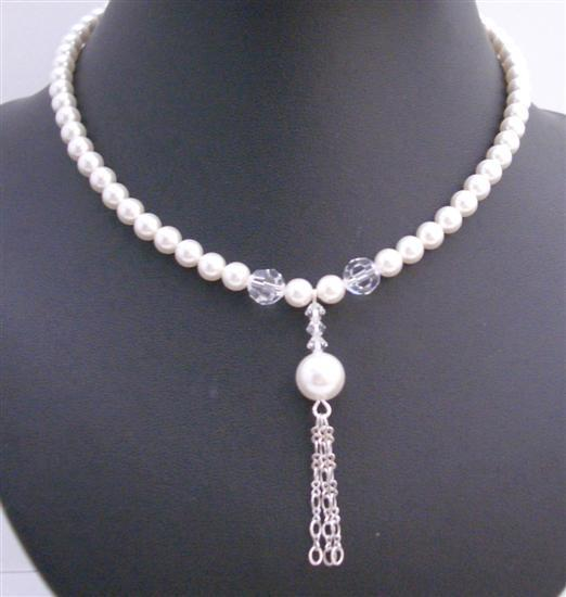 Primary image for White Pearls Swarovski Pearls 8mm Necklace Tassel Drop Down Necklace