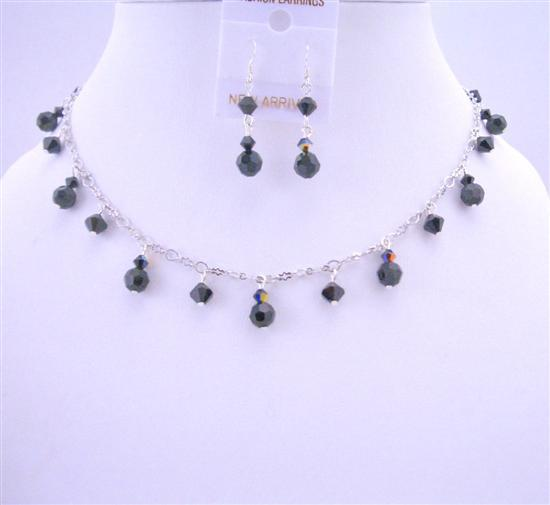 Evening Party Jewelry Mystic Pearls Necklace AB Swarovski Jet Crystals