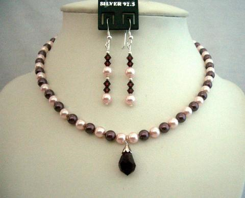 Primary image for Swarovski Rosaline & Burgundy Pearls Necklace Moms Or Brides Jewelry