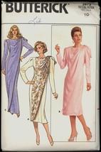 Unc 80s Sz 10 Bust 32 1/2 Front Drape Princess Seam Dress Butterick 3973 Pattern - $6.99