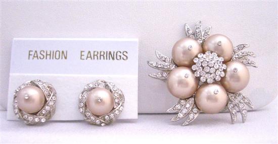 Champagne Pearls Brooch Earrings Wedding Swarovski Jewelry