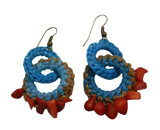 Hand Knitted Top Crochet Style Coral Nuggets Affordable Price Earrings