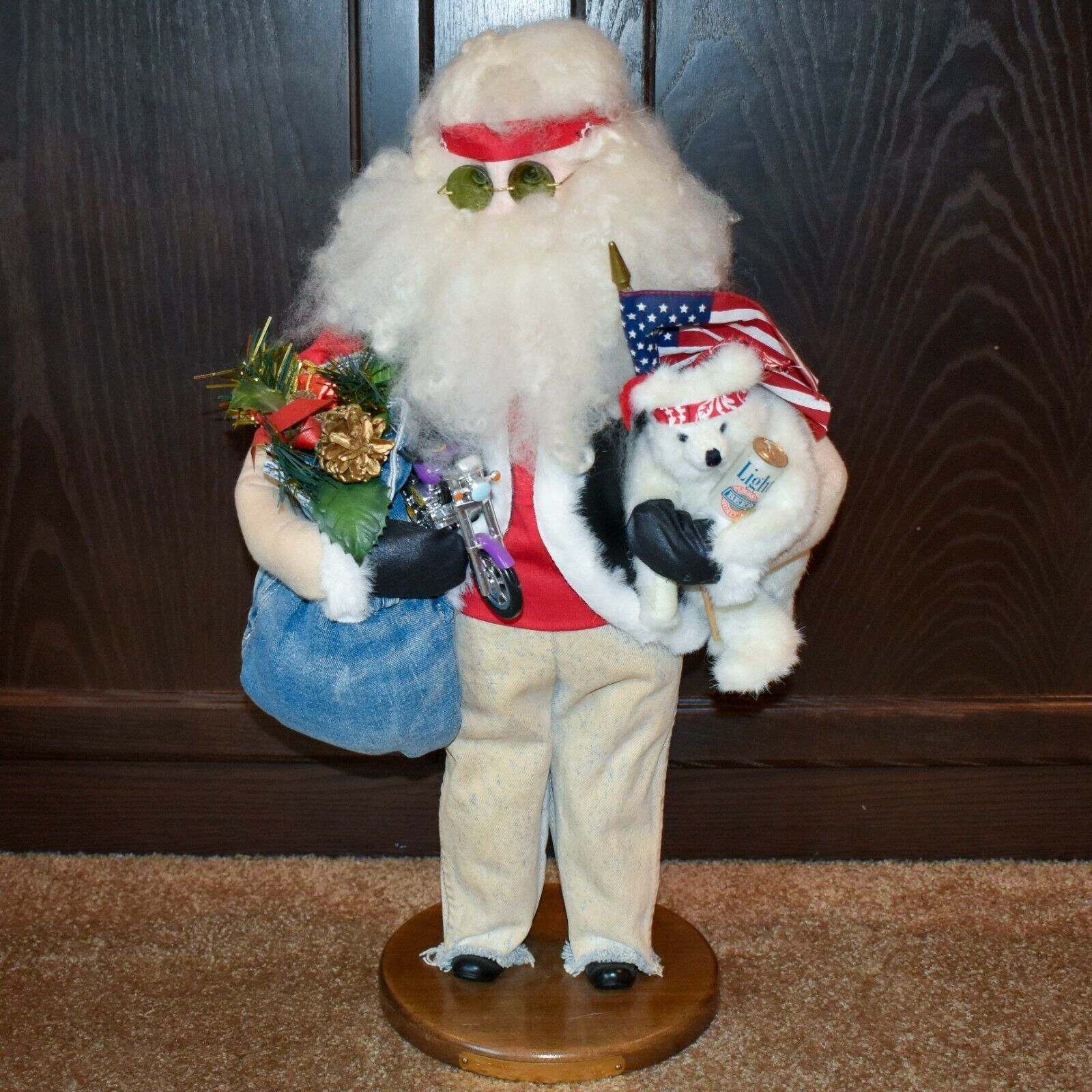 "Handcrafted ""Big Nick"" Biker Santa Claus Father Christmas Signed 24"" Cloth Doll"