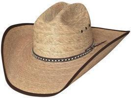 Bullhide Wide Open 15X Palm Leaf Straw Cowboy Hat Bound Brim Cattleman N... - £50.16 GBP