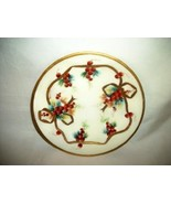 Antique Limoges France HP Gilt Bow Ribbon and Red Berries Plate JPL Stunning - $28.49