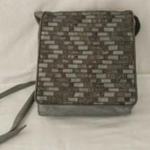 Sharif Leather Crossbody Handbag Bag Purse Metallic Pewter Adjustable Pa... - $35.99