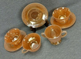 Anchor Hocking Fire King Peach Luster Laurel Cups Saucers Sugar Lot Of 7 - $25.00